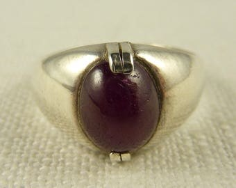 Size 9.75 Vintage Raw Ruby Sterling Men's Ring