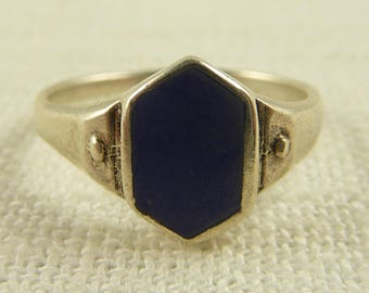 Size 8 Vintage Sterling Matte Blue Stone Ring