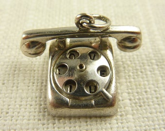 Vintage Wells Sterling Hello, I Love You Moving Rotary Phone Charm