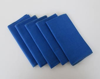 Blue Linen Cloth Napkin Set of Five - New Old Stock