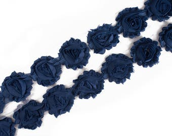 "Denim Blue : 14 Flowers  | 2.5"" Chiffon Craft Roses for Headband DIY Kits 