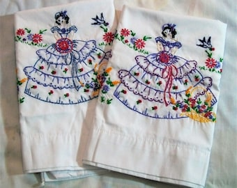 Embroidery Pillowcases, Southern Bell Pillowcases, Set of Pillowcases, Pillowcases with Embroidery, Girly Pillowcases, Pair of Pillowcases