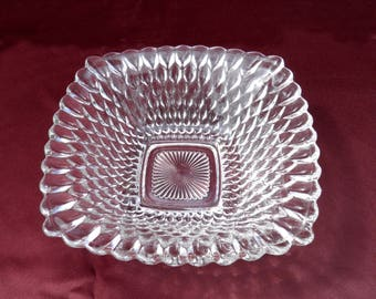 1950's ANCHOR HOCKING Clear Diamond Pattern Bowl, Candy Dish, Nut Bowl, EAPG Collectible Glass No. 19, Square Serving Dish, Mid Century Era