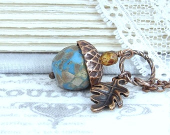 Fall Acorn Necklace Autumn Wedding Blue Acorn Necklace Autumn Jewelry Copper Acorn Necklace
