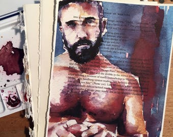 Shirtless Beautiful Male Figure Holding a Red Apple on Vintage Book Paper by Artist Brenden Sanborn