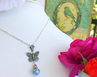 SALE 20% Off Butterfly Necklace - Silver - Victorian Jewelry - Pearl - ON the WING Blue