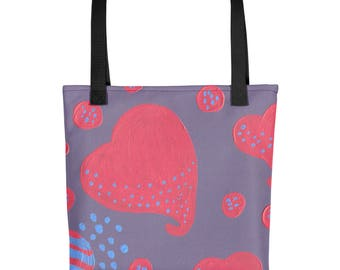lollipop attacked by hearts Tote bag