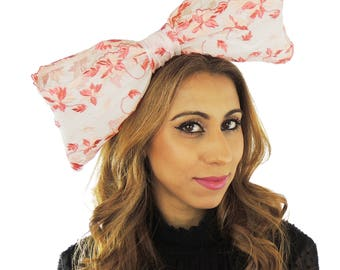 Peach and Cream Bow Fascinator Ascot Kentucky Derby Proms **SAMPLE SALE**