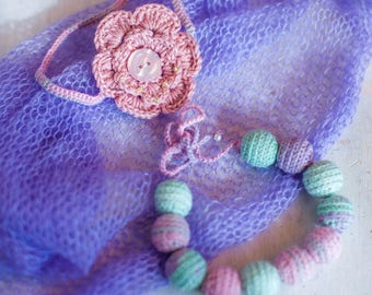 Crochet newborn girl set, great as baby shower gift or for photo prop
