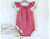 Baby, toddler red and white gingham / checkered romper, playsuit. Summer red gingham romper. Toddler red and white checkered playduit