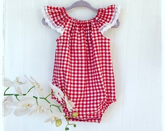 Baby, toddler red gingham romper Red checkered romper, playsuit. Summer red gingham romper. Little red riding Hood romper vintage red romper