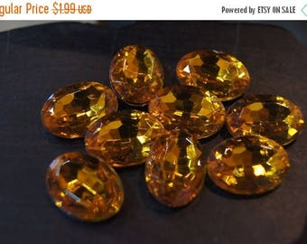 SUMMER CLEARANCE CLOSEOUT - Faceted Honey Amber Oval Cabochons - 13mm x 18mm - 10 pcs