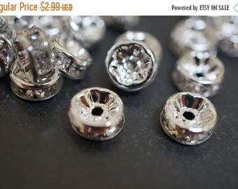 SUMMER SALE Silver Plated Rhinestone Rondelle Spacers (Straight Round) - 8mm - 12 pcs