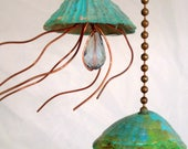 Jellyfish Fan Pull, Suncatcher,  Light Pull, Beach Decor, Sea Life Accents,  Copper Jellyfish, Fan Pull, hostess gift