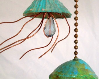 Jellyfish Fan Pull, Suncatcher,  Light Pull, Beach Decor, Sea Life Accents,  Copper Jellyfish, Fan Pull, hostess gift