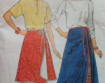 1980s Misses Wrap Skirt Pattern Butterick 6307 Misses Size 14 16 18 Long Wrap Skirt Short Wrap Skirt