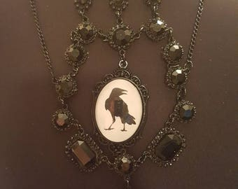 Huge elaborate chunky black stone runway gothic crow raven glass cameo necklace