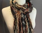 Art yarn scarf, Fringie in Berry Harvest, Fringe Scarf, Multitextural hand-tied fringe scarf in red rust black, boho chic, funky scarf