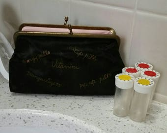 Vintage 1960s Celebrity pills pouch with original bottles - energy pills - pep pills - vitamins - tranquilizers - pep-up pills - complete