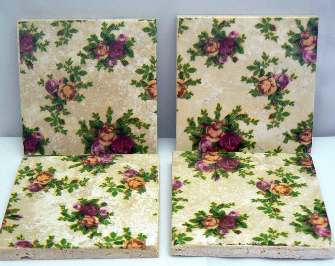 Coasters Old Country Roses Shabby Chic Travertine Stone Tile 4x4 Coaster Set of 4 Kitchen Living Design