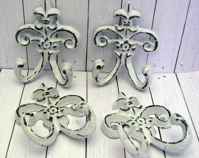 Fleur de lis Cast Iron Shabby Chic White Mini FDL Set 4 Wall Hooks Home Decor