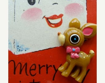 ONSALE One Kitsch Reindeer Cabochon/ Doe Deer Charm Great for those Altered Christmas Books Limited Supply
