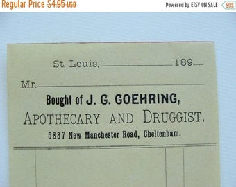 ONSALE 120 Year Old Divine Unused Apothecary Ledger Invoice