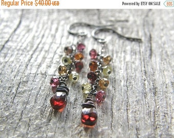 Summer Sale 20% Off Tundra Sapphire and Garnet Drop Sterling Silver Earrings