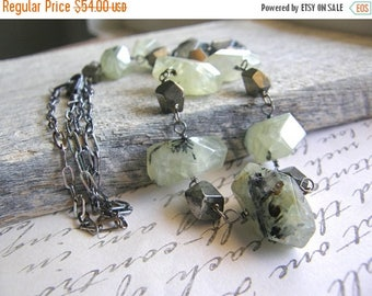 Summer Sale 20% Off Green Prehnite and Pyrite Extra Long Sterling Silver Chain Necklace