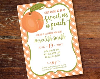Baby Shower Invitation, Baby Girl, Sweet As A Peach Shower Invitation, Southern Peach, Printed or Digital, Shipping Included (for US Only)