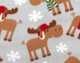 Christmas Moose 59-inch Christmas Fleece Fabric by the yard