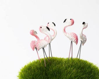 5 Tiny Pink Flamingo/ Miniature Flamingo/ Flamingo Terrarium Accessories