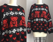 Vintage 1980s Hearts and Teddy Bear Novelty Print Oversize Sweater Size XL