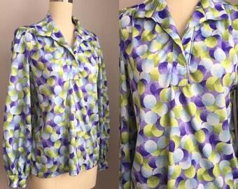 Vintage 1970s does Art Deco Polka Dot Orb Novelty Print Blouse Shirt Size Medium