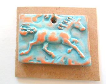 Horse Pendant Finding, Distressed Turquoise Terra Cotta Kiln Fired Clay