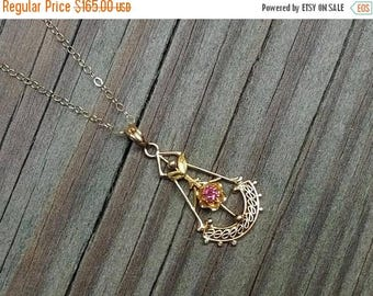 ON SALE NOW Tiny antique Edwardian 10k yellow and green gold  filigree ruby lavalier pendant necklace