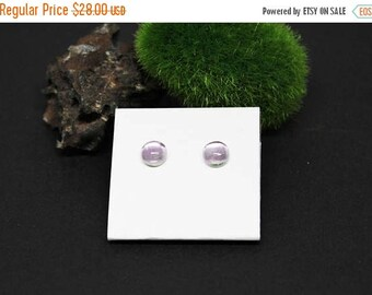 Christmas In July Sale - Amethyst Gemstone . 7mm Smooth Domed Round . Sterling Silver Posts Studs Earrings . Light Lavender Purple . E16172