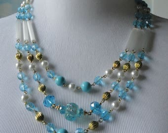 Gold tone with White Fiberoptics,Faux Pearls and Faceted Aqua Blue Czech Glass Beads 3 Strands Necklace and Earrings Set.