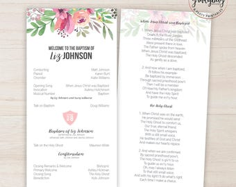 LDS Baptism Program, Floral Baptism Program, Baptism Printable, Girl Baptism Program, LDS Primary, Its Great to be 8, LDS Baptism