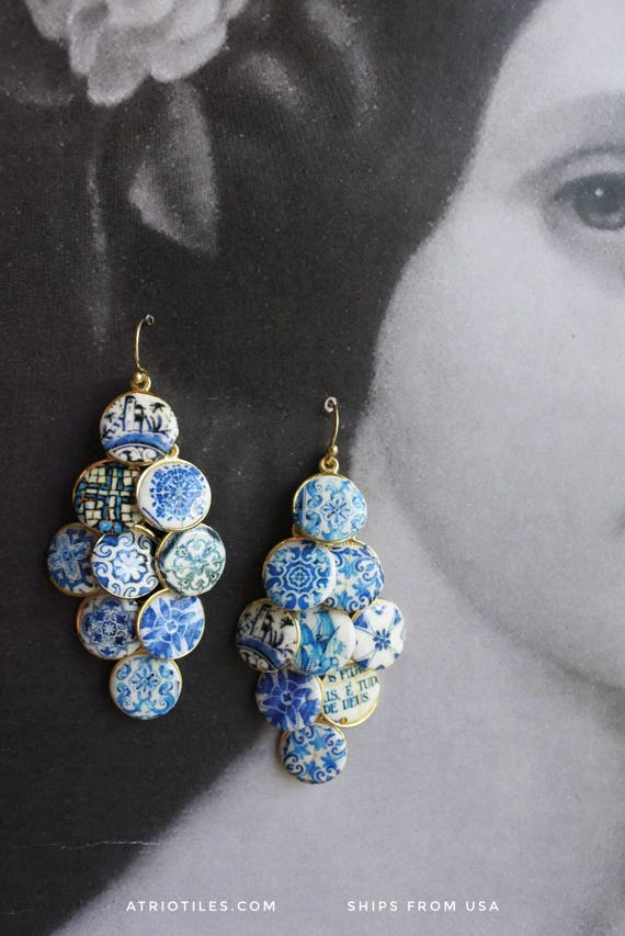 Portugal  18 Antique Azulejo Tile CLUSTER Earrings  - University of Évora founded in 1559 - Historic! Majolica Mosaic