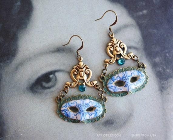 Mask Earrings Portugal Tiles Blue Azulejos Masquerade Antique Venetian  - University of Évora founded in 1559 - Majolica