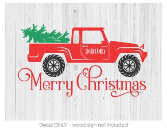Merry Christmas Decal, Pickup Truck, Pine Tree, Personalized Name, Christmas Vinyl Wall Decal, Holiday Sign, Sign Decal, Rustic Country