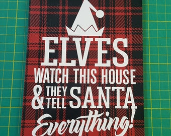 Elf on a shelf sign, Ready To Ship, 5x7 small sign, yankee swap, red black plaid, Elf sign, teacher gift, magnets on back, santa sign, elf
