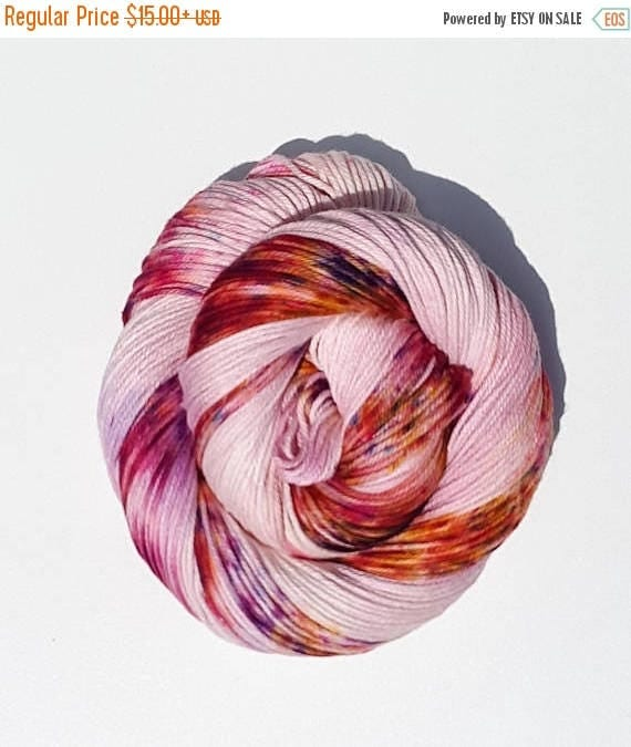4th of July Sale Asiatic Lily- 100% Cotton, Hand Dyed, Variegated, Speckled, Hand Painted Yarn