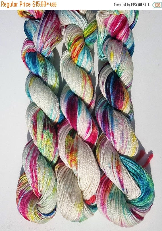 4th of July Sale Carnival- 100% Cotton, Hand Dyed, Speckled, Variegated, Hand Painted Yarn