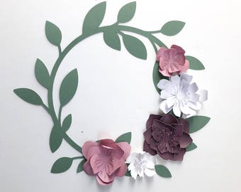 Paper Flower Wreath Loop Spring Wedding Rifle Paper Co Modern Decor Baby Shower Nursery Bride Wedding Photo Booth. Photo Backdrop. Wedding