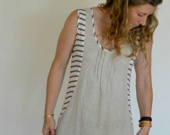 Womens' Natural Oatmeal Pure Linen and Striped Knit Dress/ Tunic