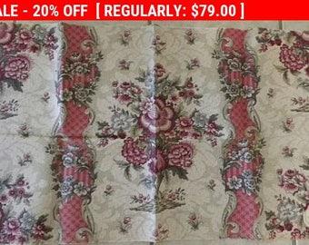 Gorgeous Antique French Linen Fabric Floral Mouchete
