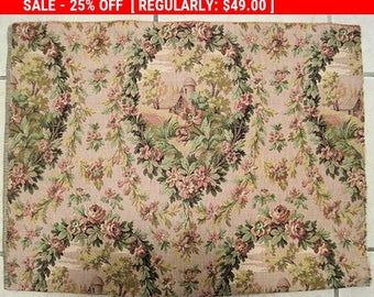 Antique Brocade Fabric French Roses French