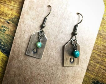 Horseshoe Hand Stamped Brass Rectangle Earrings- Gift for her- Turquoise Dangle